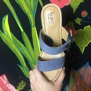 b.o.c. Shoes - B.O.C BLUE BUCKLE DETAIL WEDGE HEELS